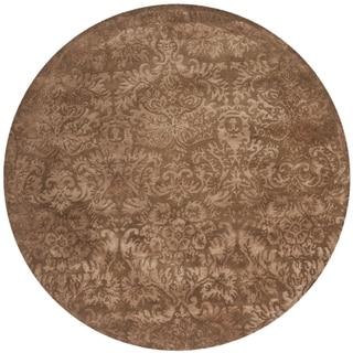 Martha Stewart Damask Mahogany Wool/ Viscose Rug (6' Round)