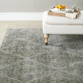 Martha Stewart Strolling Rock Garden/ Grey Wool/ Viscose Rug (3' 9 x 5' 9)