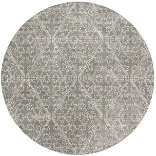 Martha Stewart by Safavieh Strolling Rock Garden/ Grey Wool/ Viscose Rug (6' Round)