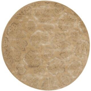 Martha Stewart Geranium Leaf Toffee Wool/ Viscose Rug (6' Round)
