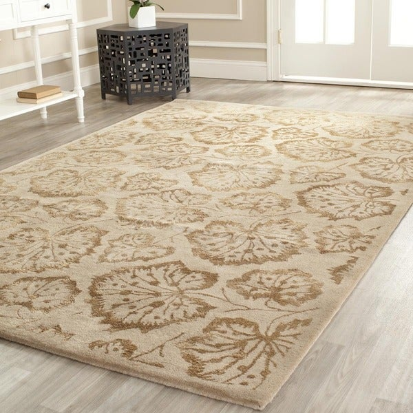 Martha Stewart by Safavieh Geranium Leaf Hazelnut/ Gold Wool/ Viscose Rug - 9'6 x 13'6