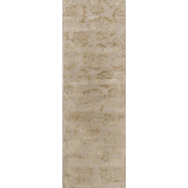"Martha Stewart by Safavieh Geranium Leaf Hazelnut/ Gold Wool/ Viscose Rug - 2'3"" x 10'"