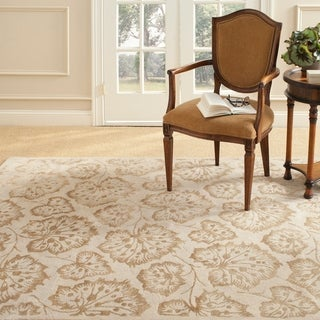 Martha Stewart Geranium Leaf Hazelnut/ Gold Wool/ Viscose Rug (2' 3 x 10')