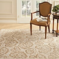 Martha Stewart by Safavieh Geranium Leaf Hazelnut/ Gold Wool/ Viscose Rug - 3'9 x 5'9