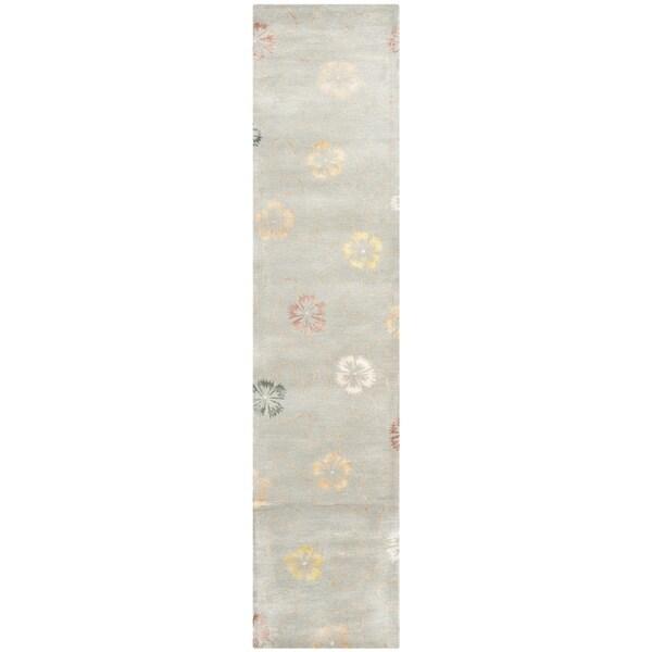 Martha Stewart by Safavieh Garland Pearl/ Grey Wool/ Viscose Rug (2' 3 x 10')