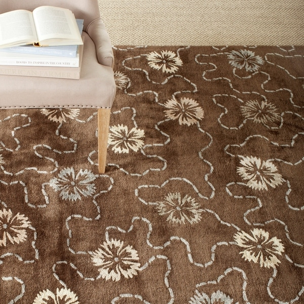 Martha Stewart by Safavieh Garland Mocha Wool/ Viscose Rug - 7'9 x 9'9