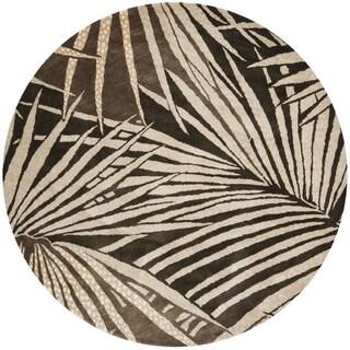 Martha Stewart Palms Coconut/ Brown Wool/ Viscose Rug (6' Round)