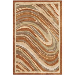 Martha Stewart Marble Swirl Oct Leaf Red Wool/ Viscose Rug (3' 9 x 5' 9)