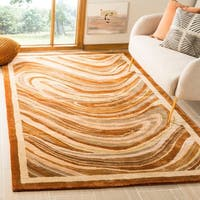 Martha Stewart by Safavieh Marble Swirl October Leaf Red Rug - 3'9 x 5'9