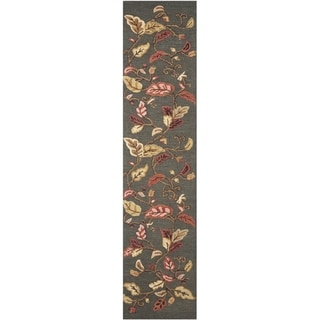 Martha Stewart Autumn Woods Francesca Black Wool/ Viscose Rug (2' 3 x 10')