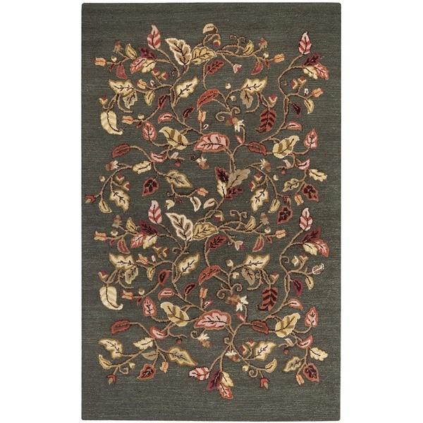 Martha Stewart by Safavieh Autumn Woods Francesca Black Wool/ Viscose Rug (5' x 8')