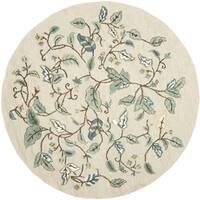 Martha Stewart by Safavieh Autumn Woods Colonial Blue Wool/ Viscose Rug - 6' Round
