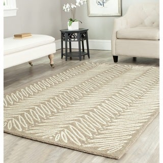 Martha Stewart by Safavieh Chevron Leaves Chamois Beige Wool/ Viscose Rug (5' x 8')