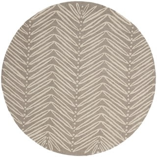 Martha Stewart Chevron Leaves Chamois Beige Wool/ Viscose Rug (6' Round)