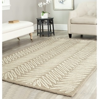 Martha Stewart by Safavieh Chevron Leaves Chamois Beige Wool/ Viscose Rug (8' x 10')