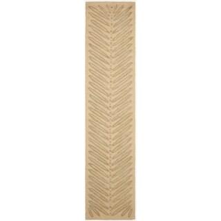 Martha Stewart by Safavieh Chevron Leaves Oolong Tea Green Wool/ Viscose Rug (2' 3 x 10')