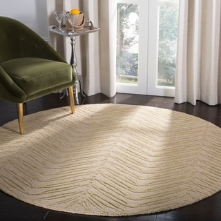 Martha Stewart Chevron Leaves Oolong Tea Gree Wool/ Viscose Rug (6' Round)