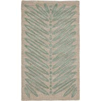 "Martha Stewart by Safavieh Chevron Leaves Blue Fir Wool/ Viscose Rug - 2'6"" x 4'3"""