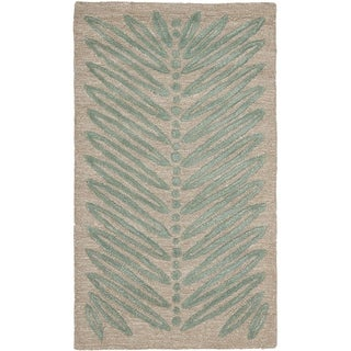 Martha Stewart by Safavieh Chevron Leaves Blue Fir Wool/ Viscose Rug (2' 6 x 4' 3)