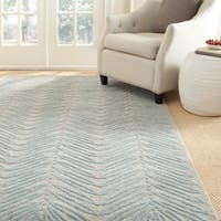 Martha Stewart by Safavieh Chevron Leaves Blue Fir Wool/ Viscose Rug (9' x 12')