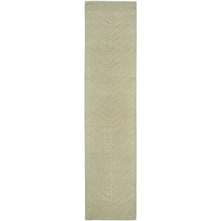 Martha Stewart by Safavieh Chevron Leaves Milk Pail Green Wool/ Viscose Rug (2' 3 x 10')