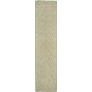 Martha Stewart by Safavieh Chevron Leaves Milk Pail Green Wool/ Viscose Rug (2' 3 x 10')