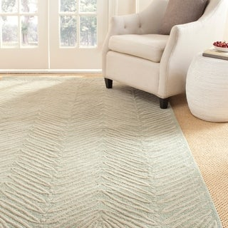 Martha Stewart by Safavieh Chevron Leaves Milk Pail Green Wool/ Viscose Rug (9' x 12')