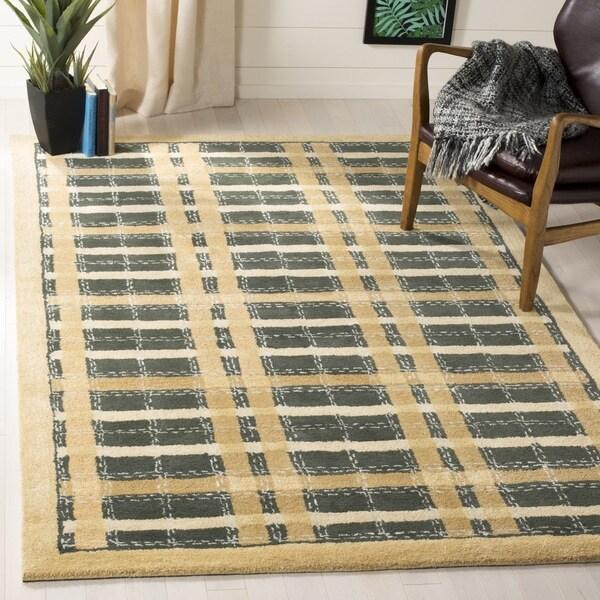 Martha Stewart by Safavieh Colorweave Plaidecornucopia Gold Wool/ Viscose Rug - 9' 6 x 13' 6