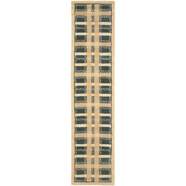 Martha Stewart by Safavieh Colorweave Plaidecornucopia Gold Wool/ Viscose Rug (2' 3 x 10') - 2'3 x 10'