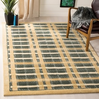 Martha Stewart Colorweave Plaid Cornucopia Gold Wool/ Viscose Rug (4' x 6')