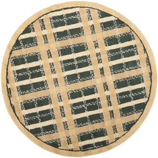 Martha Stewart Colorweave Plaid Cornucopia Gold Wool/ Viscose Rug (6' Round)