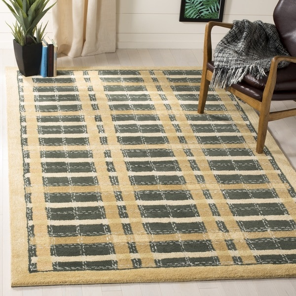 Martha Stewart by Safavieh Colorweave Plaidecornucopia Gold Wool/ Viscose Rug - 9' x 12'