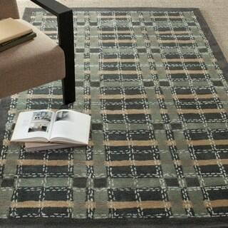 Martha Stewart by Safavieh Colorweave Plaid Wrought Iron Navy Wool/ Viscose Rug (5' x 8')