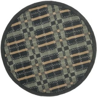 Martha Stewart Colorweave Plaid Wrought Iron Navy Wool/ Viscose Rug (6' Round)