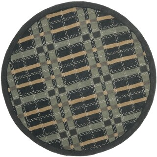 Martha Stewart by Safavieh Colorweave Plaid Wrought Iron Navy Wool/ Viscose Rug (6' Round)