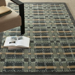 Martha Stewart by Safavieh Colorweave Plaid Wrought Iron Navy Wool/ Viscose Rug (9' x 12')