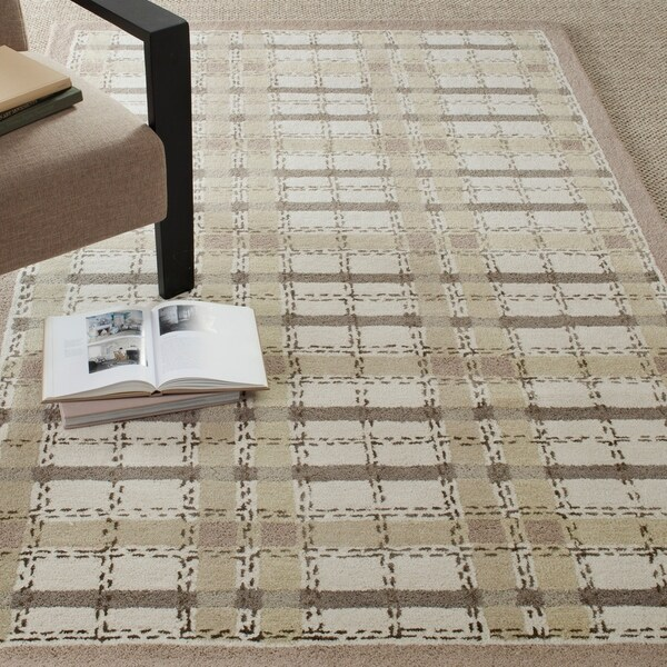Martha Stewart by Safavieh Colorweave Plaid Sharkey Grey Wool/ Viscose Rug - 9'6 x 13'6