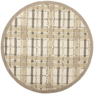 Martha Stewart by Safavieh Colorweave Plaid Sharkey Grey Wool/ Viscose Rug (6' Round)