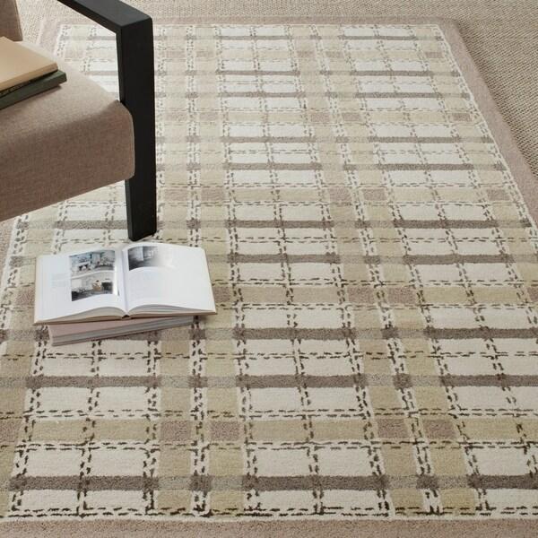 Martha Stewart by Safavieh Colorweave Plaid Sharkey Grey Wool/ Viscose Rug - 8' x 10'