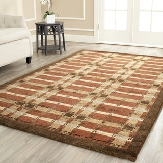 Martha Stewart Colorweave Plaid October Leaf Red Wool/ Viscose Rug (4' x 6')