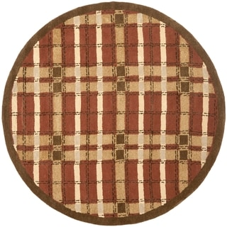 Martha Stewart Colorweave Plaid October Leaf Red Wool/ Viscose Rug (6' Round)