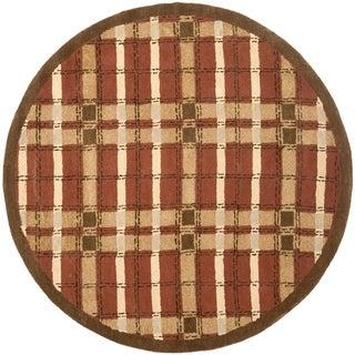 Martha Stewart by Safavieh Colorweave Plaid October Leaf Red Wool/ Viscose Rug (6' Round)