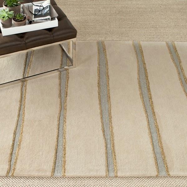Martha Stewart by Safavieh Chalk Stripe Wheat Beige Wool/ Viscose Rug (9' 6 x 13' 6)