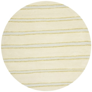 Martha Stewart Chalk Stripe Wheat Beige Wool/ Viscose Rug (6' Round)