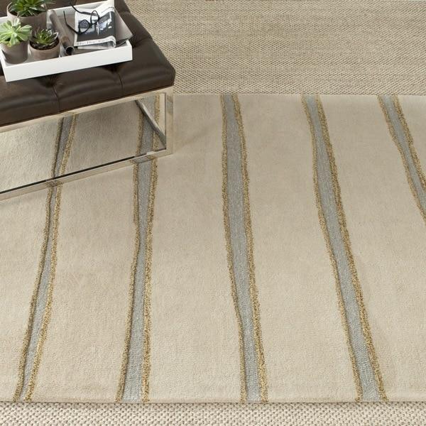Martha Stewart By Safavieh Chalk Stripe Wheat Beige Wool