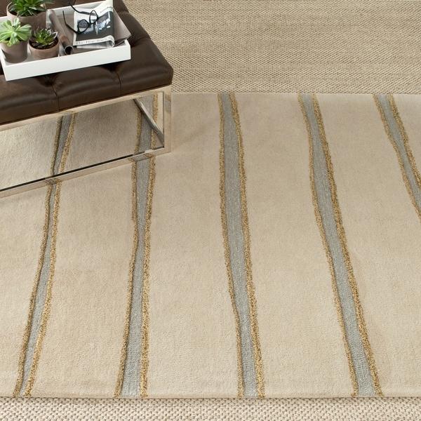 Martha Stewart by Safavieh Chalk Stripe Wheat Beige Wool/ Viscose Rug - 9' x 12'