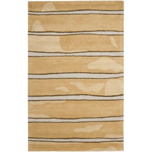 Martha Stewart by Safavieh Chalk Stripe Toffee Gold Wool/ Viscose Rug - 9'6 x 13'6