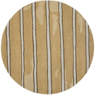 Martha Stewart Chalk Stripe Toffee Gold Wool/ Viscose Rug (6' Round)