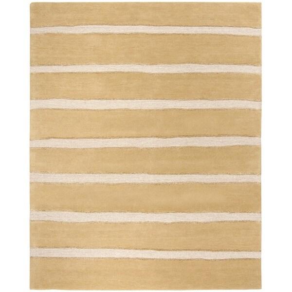 Martha Stewart by Safavieh Chalk Stripe Toffee Gold Wool/ Viscose Rug - 9' x 12'