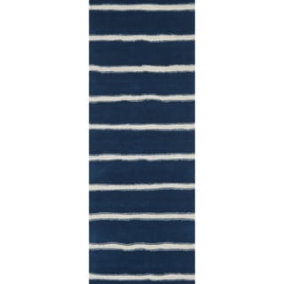 Martha Stewart Chalk Stripe Wrought Iron Navy Wool/ Viscose Rug (2' 6 x 10')
